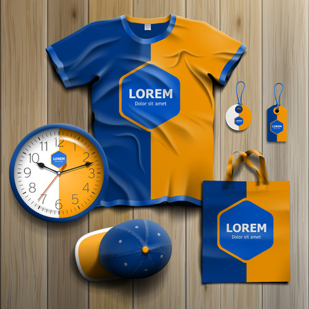 corporate: Classic blue promotional souvenirs design for corporate identity with central rhombus and orange shape. Stationery set Illustration
