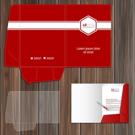 folder: Red classic folder template design for corporate identity with white central element and horizontal line. Stationery set