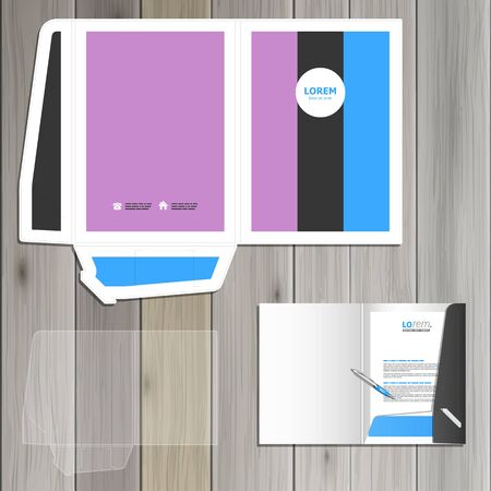 identity template: Vintage folder template design for corporate identity with three color shapes. Stationery set