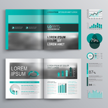 brochure template: Classic green brochure template design with square horizontal shapes. Cover layout and infographics