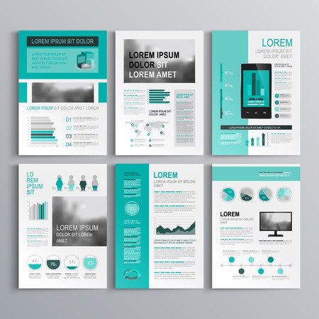 catalogue: Classic green brochure template design with square horizontal shapes. Cover layout and infographics