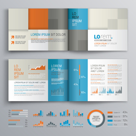 folleto: Diseño del modelo del folleto a cuadros con azul, naranja y gris formas cuadradas. Diseño de la cubierta y la infografía Vectores