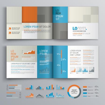 Geruite brochure template design met blauw, oranje en grijs vierkante vormen. Cover layout en infographics