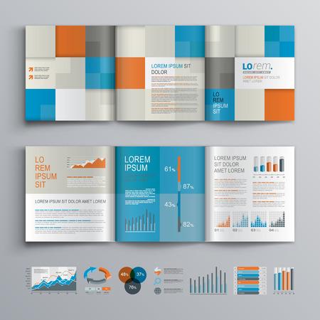 블루 오렌지와 회색 사각형 모양 체크 무늬 브로셔 템플릿 디자인. 표지 레이아웃과 infographics입니다