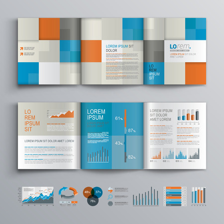 brochure template: Checkered brochure template design with blue, orange and gray square shapes. Cover layout and infographics