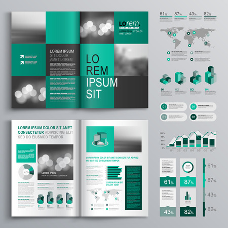 editable: Checkered green brochure template design with square shapes. Cover layout and infographics