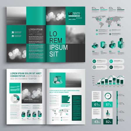 sjabloon: Geruite groene brochure template design met vierkante vormen. Cover lay-out en infographics