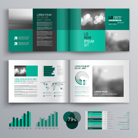 booklet: Checkered green brochure template design with square shapes. Cover layout and infographics
