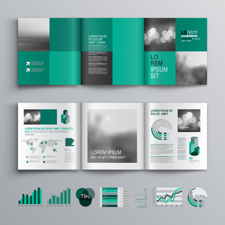 DESIGN: Checkered green brochure template design with square shapes. Cover layout and infographics