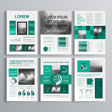 Checkered green brochure template design with square shapes. Cover layout and infographics Stock fotó - 42525583