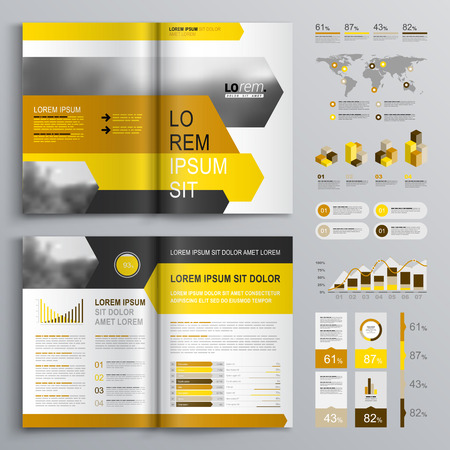 charts graphs: White brochure template design with black, yellow and orange arrows. Cover layout and infographics
