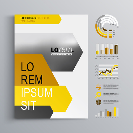 statistic: White brochure template design with black, yellow and orange arrows. Cover layout and infographics