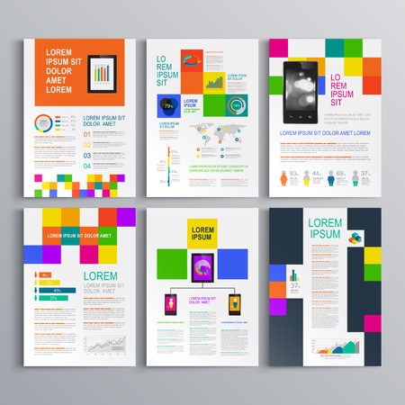 magazine template: Black brochure template design with color square pattern. Cover layout and infographics Illustration
