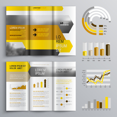 black and yellow: White brochure template design with black, yellow and orange arrows. Cover layout and infographics