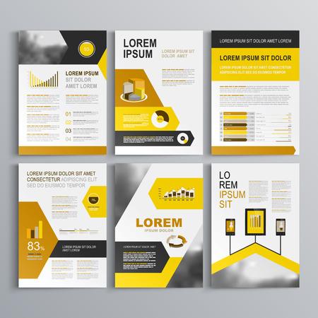 amarillo y negro: Dise�o de plantilla de folleto blanco con flechas negras, amarillas y anaranjadas. El dise�o de la cubierta y la infograf�a