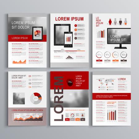 赤や灰色の図形に古典的なパンフレット テンプレート デザイン。レイアウトとインフォ グラフィックをカバーします。