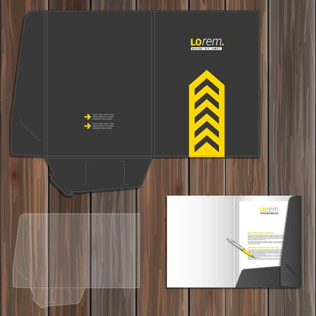 stationary: Classic black folder template design for corporate identity with central yellow arrow. Stationery set