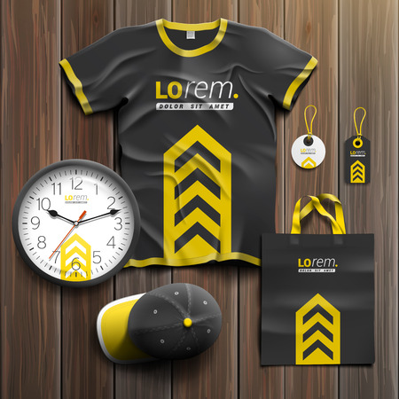 souvenirs: Classic black promotional souvenirs design for corporate identity with central yellow arrow. Stationery set Illustration