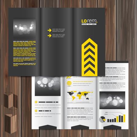 amarillo y negro: diseño clásico negro plantilla de folleto con la flecha amarilla central. diseño de la portada Vectores