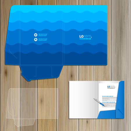 blue sea: Sea blue folder template design for corporate identity with waves. Stationery set