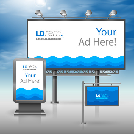 Sea blue outdoor advertising design for corporate identity with waves. Stationery set