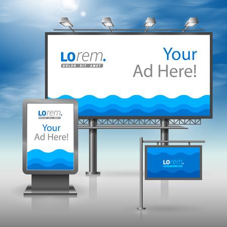 Mer bleue conception de la publicité extérieure pour l'identité corporate avec des vagues. ensemble de papeterie