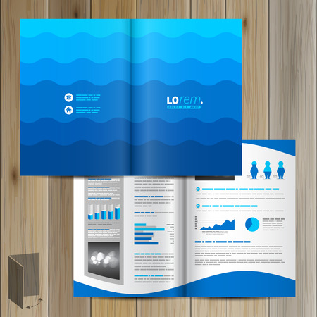 flyer design: Sea blue brochure template design with waves. Cover layout