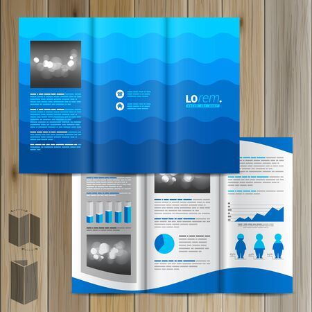 waves ocean: Sea blue brochure template design with waves. Cover layout