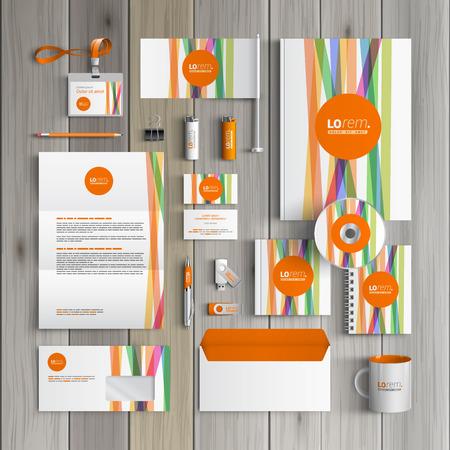 컬러 라인과 오렌지 모양 흰색 기업의 정체성 템플릿 디자인. 비즈니스 문구 일러스트