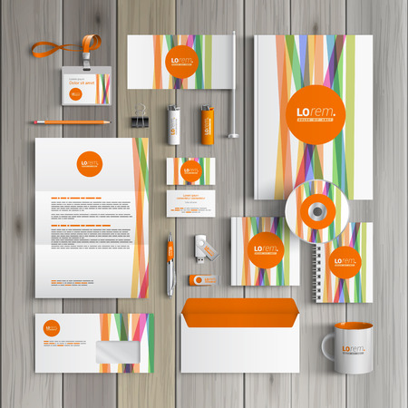 White corporate identity template design with color lines and orange shape. Business stationery Vettoriali