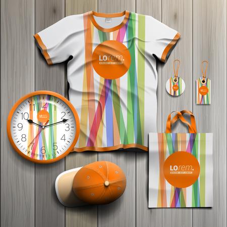 컬러 라인과 오렌지 모양으로 기업의 정체성 흰색 홍보 기념품 디자인. 문구 세트