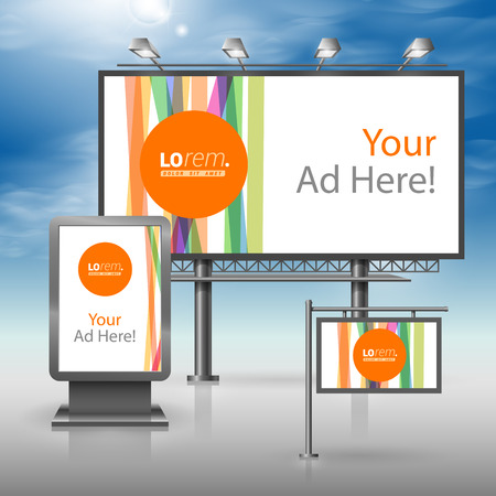 outdoor advertising: White outdoor advertising design for corporate identity with color lines and orange shape. Stationery set Illustration