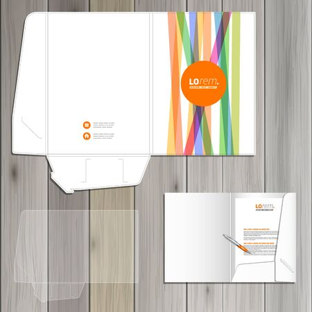 corporate identity template: White folder template design for corporate identity with color lines and orange shape. Stationery set