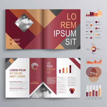 Fashion brochure template design with red and gray square shapes. Cover layout and infographics Illustration
