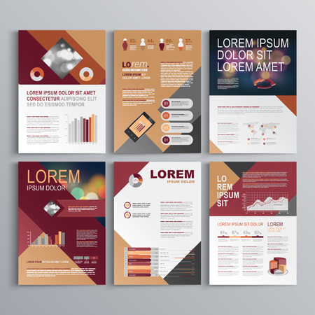 Fashion Brochure Template Design With Red And Gray Square Shapes - Fashion brochure templates