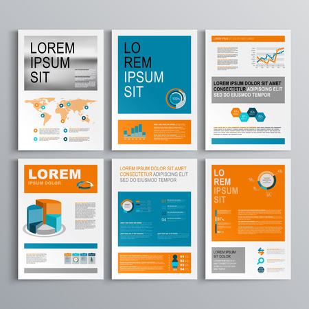 blue design: Classic brochure template design with blue and orange shapes. Cover layout and infographics