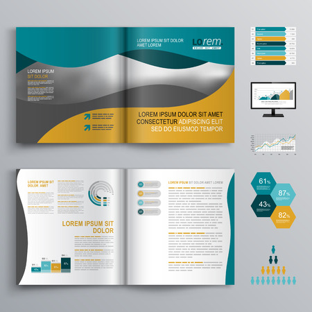 Wavy brochure template design with green and yellow shapes. Cover layout and infographics