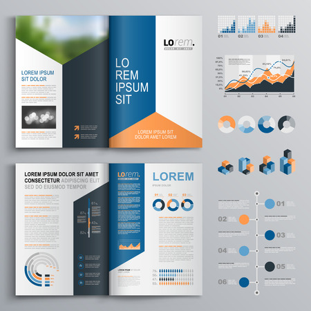 catalog: Classic brochure template design with blue, black and red triangle shapes. Cover layout and infographics Illustration