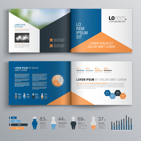 catalog design: Classic brochure template design with blue, black and red triangle shapes. Cover layout and infographics Illustration