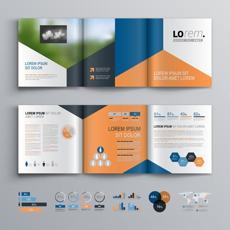 파란색, 검은 색과 빨간색 삼각형 모양 클래식 브로셔 템플릿 디자인. 표지 레이아웃과 infographics입니다