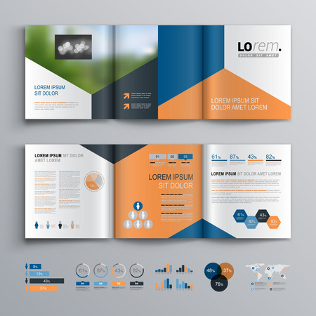 Classic brochure template design with blue, black and red triangle shapes. Cover layout and infographics Illusztráció
