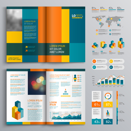 catalog background: Business brochure template design with color square shapes. Cover layout and infographics