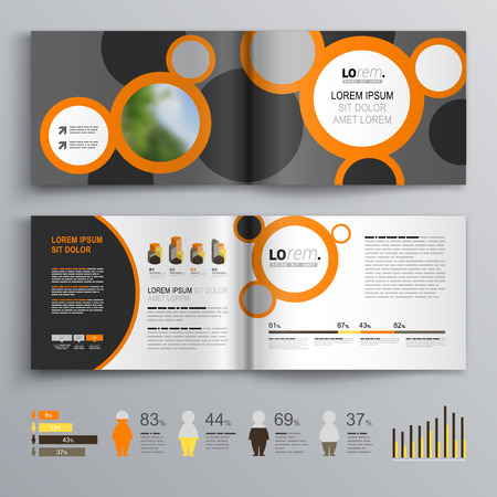 Gray brochure template design with black and orange round elements. Cover layout and infographics