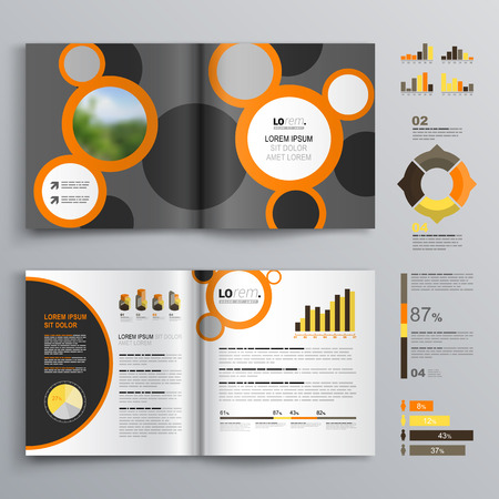 catalog templates: Gray brochure template design with black and orange round elements. Cover layout and infographics