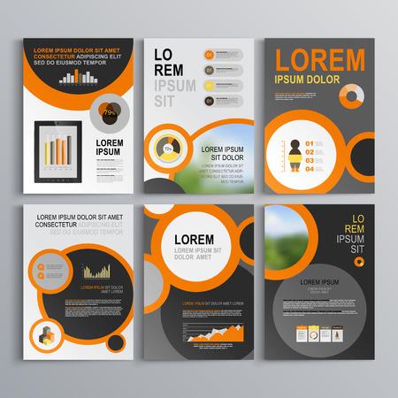 블랙과 오렌지 라운드 요소 회색 브로셔 템플릿 디자인. 표지 레이아웃과 infographics입니다 일러스트