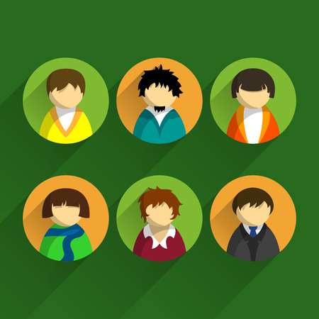 people  male: Set of icons business people. Male and female faces with different haircuts. Various options styles and clothes. Flat design illustration on green background Illustration