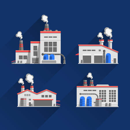 Set icons of industrial buildings and factories isolated on blue background. Manufacture of products. Flat design illustration