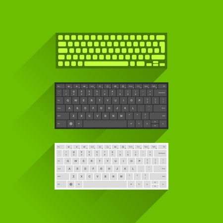 computer keyboard: Vector illustration of modern computer keyboard in green, black and white color on green background