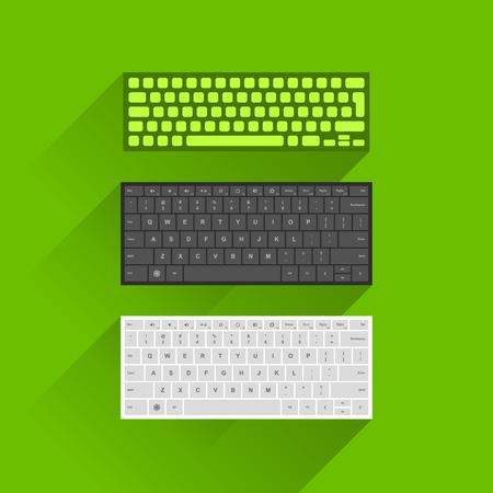 teclado numerico: Vector ilustración de moderno teclado de computadora en el color verde, negro y blanco sobre fondo verde