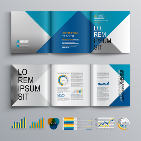 brochure d'affaires conception de modèle avec du blanc, bleu et gris motif carré. mise en page de couverture et infographies